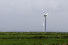 White wind turbine to generate electricity in the green fields Stock Image