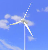 White wind turbine or wind mill Royalty Free Stock Photo