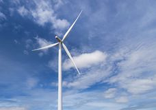 White wind turbines alternative renewable energy from nature in wind power station under blue sky backgroun Stock Photos
