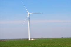 White Wind Turbines  Generating Electricity Stock Photos