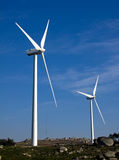 White wind turbines Stock Photo
