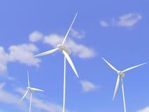 White wind turbines or wind mills Stock Photos