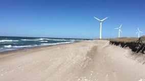 White windmill in Denmark. stock footage