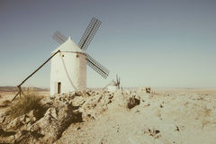 White windmill in desert Royalty Free Stock Images