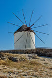 White windmill on the island of Mykonos, Cyclades Islands Royalty Free Stock Image