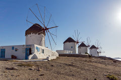 White windmill on the island of Mykonos, Cyclades Islands Stock Image