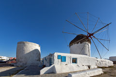 White windmill on the island of Mykonos, Cyclades Islands Stock Photography