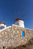 White windmill on the island of Mykonos, Cyclades Islands Royalty Free Stock Photos
