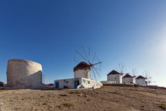 White windmill on the island of Mykonos, Cyclades Islands Stock Photo