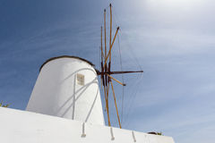 White windmill in Oia, Santorini (Thera), The Cyclades - Greece. Europe Stock Photo