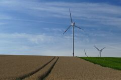 White Windmills Stock Photography
