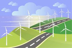 White windmills on green fields, sea coast, blue sky. Grey road, vector Royalty Free Stock Photography