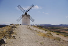White windmills in La Mancha, near Consuegra, Spain. royalty free stock images