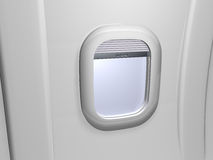 White window airplane. White window. view on wing plane Stock Images