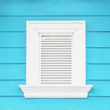 White window and aqua wood wall Stock Photos