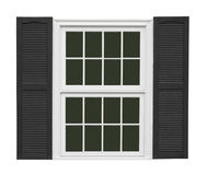 White window with black shutters isolated Royalty Free Stock Images