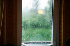 White window covered with rain drops Royalty Free Stock Images