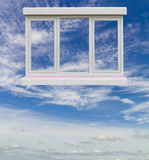 White window floating in the sky. Royalty Free Stock Images