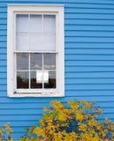 White Window Frame. A white window frame in blue siding Royalty Free Stock Photo