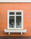 White window frame on brick wall Royalty Free Stock Image