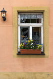 White Window frame with flowers on orange pink wall in Europe Royalty Free Stock Photos