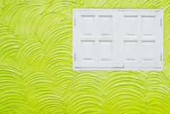 White window and green wall Stock Photo