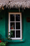 White window with green wall Stock Image