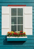 White window open and flower Royalty Free Stock Images