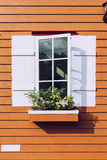 White window open and flower Stock Photography
