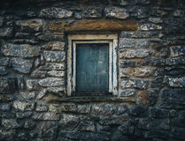 White Window Pane on Black and White Stone Bricks Wall Royalty Free Stock Image