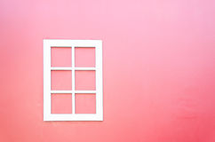 White window. On pink wall Royalty Free Stock Image