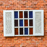 White window on red brick wall. For background Royalty Free Stock Photo