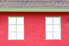White window with red wall Stock Photography