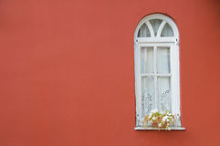 White window on red wall. White window with flowerpot, on clear red wall Stock Photography