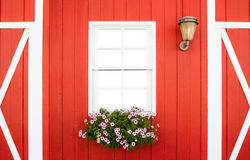 White window on red wall Stock Photos