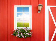 White window on red wall Stock Images