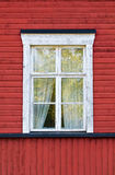 White window on red wall Royalty Free Stock Images