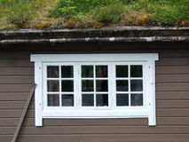 White window and roof with grass. Interesting house with grass on its roof. Detail - white window Stock Image