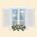 White window with shutters and flowers. On beige wall background royalty free illustration