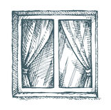 White window. Vector sketch Royalty Free Stock Photos