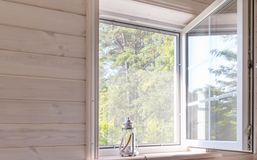 Free White Window With Mosquito Net In A Rustic Wooden House Overlooking The Garden, Shallow Depth Of Field Stock Image - 159742941