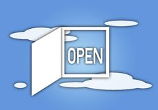 White Window with Word OPEN on Blue Sky Royalty Free Stock Images