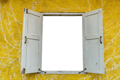White window on yellow wall Royalty Free Stock Images