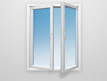 White windows. White window and grey background Royalty Free Stock Photography