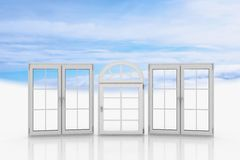 White windows with blue sky Royalty Free Stock Photo
