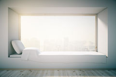 White windowsill bed Royalty Free Stock Photography