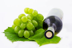 White Wine. Red Wine and Grape and Leaf royalty free stock image