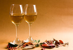 White wine. In autumn, leafs Royalty Free Stock Photography