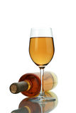 White wine. Wine in glasses and a bottle Stock Image