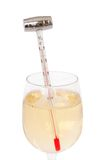 White wine. Thermometer measuring the wine temperature royalty free stock photos